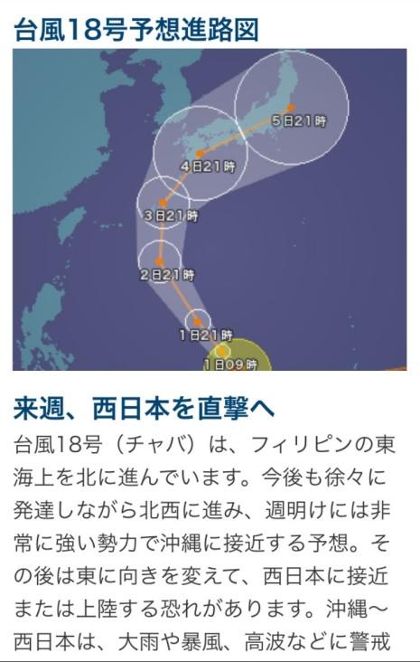 台風18号の予想経路