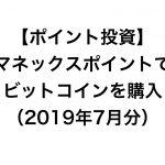 【ポイント投資】今月ゲットしたマネックスポイントでビットコインを購入(2019年7月分)